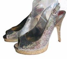 Guess Glitzer Schuhe Silber Gold High Heels 40