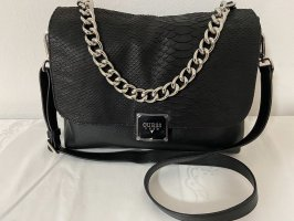 Guess Luxe Leder-Tasche Vicky Snake Schwarz