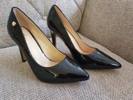 Guess Sabri Gr. 38 Pump High Heels Neu schwarz Lack Schuhe Gold Stiletto