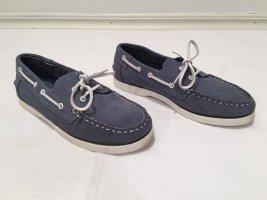 Guess Zapatos de marinero blanco-azul acero Cuero
