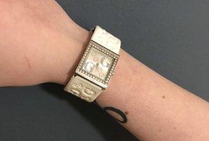 Guess Montre avec bracelet en cuir blanc-argenté