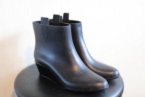 Gumowe buty czarny Tkanina z mieszanych włókien