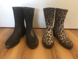 Hanna White Wellington laarzen zwart-bruin