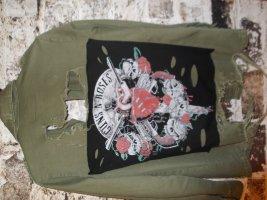Zara Military Jacket khaki-black cotton