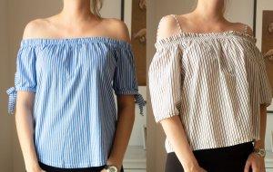 H&M 2x schulterfreie Shirts Tops mit Streifen blau weiß Gr. 38 S