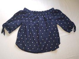 H&M Carmen blouse donkerblauw-wit Katoen
