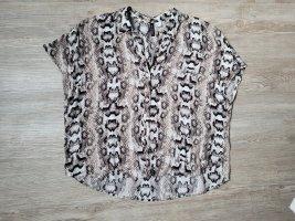 H&M Bluse kurzarm Shirt 36 schlangenprint beige schwarz braun