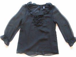 H&M bluse schwarz gr. xs 34 rueschen