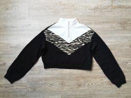 H&M cropped Pullover XS Sweater Sweatshirt schwarz zebra weiß