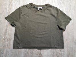 H&M cropped Shirt T-Shirt L khaki grün used style