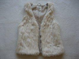 H&M L.O.G.G. Smanicato di pelliccia bianco sporco