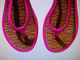 H&M Flip Flops Zehentreter Sandalen pink holzfarben sand Geflecht NEU 38 39 Gr.6