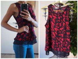 H&M Luftige Bluse [Schwarz-Rot, gemustert, Gr. S]