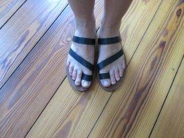 H&M Premium Strapped Sandals black leather
