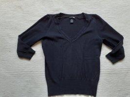 H&M pulli v-auschnitt gr. s 36 schwarz baumwolle