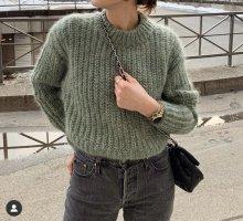 H&M Premium Pull à gosses mailles gris vert-vert clair