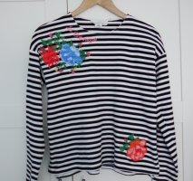 H&M Shirt leichter Pulli M gestreift mit Blumenstickerei w.NEU