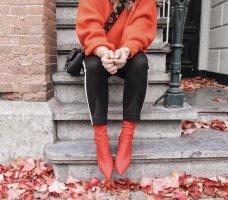 H&M Peep Toe laarsjes rood Gemengd weefsel