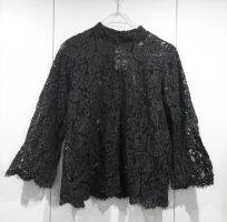 H&M Spitzen Bluse Dunkelgrau Gr. M
