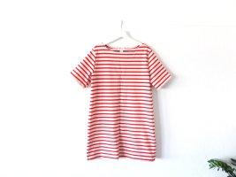 H&M Streifenkleid Gr. L 42 rot beige gestreift T-Shirtkleid A-Linie