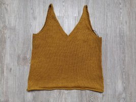 H&M Stricktop Wolltop Shirt Top gelb Okker XS senffarbend
