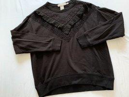 H&M Sweatshirt mit Volant in schwarz