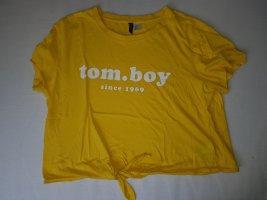 H&M Cropped shirt donkergeel Katoen
