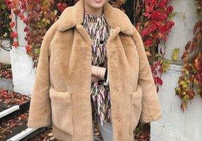 H&M Premium Płaszcz ze sztucznym futrem Wielokolorowy Poliester
