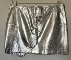 H&M Leather Skirt silver-colored leather