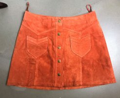 H&M Leather Skirt dark orange-bronze-colored leather