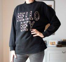 H&M+ weicher bestickter Pullover Sweatshirt mit Schriftzug Oversized Gr. L
