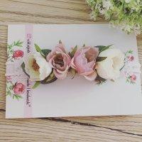 handmade Bandeau cheveux crème-rose