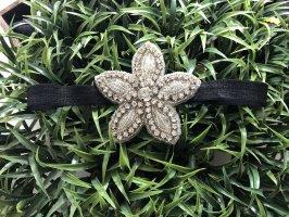 Haarband Stirnband mit Blüte schwarz silber
