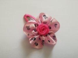 Haarblume Haarschleife rosa schwarz mit Totenkopf
