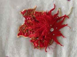 Haarklammer Gatsby Blume rot gold silber Strass *NEU*