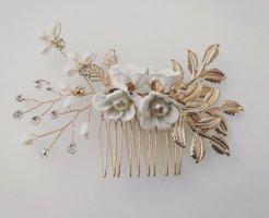 Haarkranz Haarschmuck weiß Gold Blüten Blume