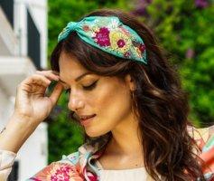 Haarreif/Headband Schmuck - Türkis/Color - Flower - NEU! Powder