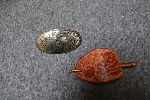 Barrette argenté-brun tissu mixte