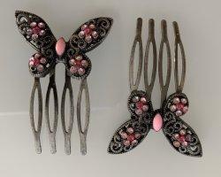 Épingle à cheveux gris anthracite-rose métal