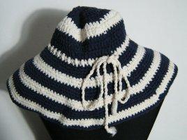 Häkel Hut 70er Jahre Schlapphut Blau Weiß Baumwolle