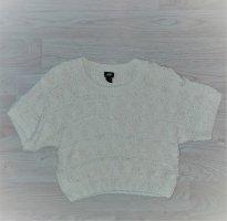 H&M Szydełkowany top biały-w kolorze białej wełny Bawełna