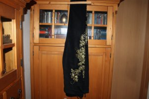 Alba Moda Trousers black-gold-colored cotton