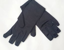 Halblange Satin Abend Handschuhe schwarz Gr S/M