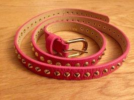 Hallhuber: auffälliger Ledergürtel mit goldenen Nieten in Pink Gr. 90 neu