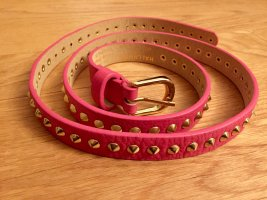 Hallhuber Leather Belt gold-colored-magenta