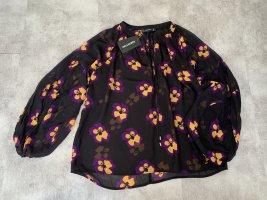Hallhuber Blusa tipo kimono negro-naranja dorado