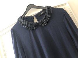 Hallhuber Shirt Pullover mit Bubikragen blau navy und Steinen schwarz Größe M