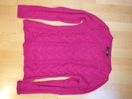 Hallhuber Cable Sweater magenta alpaca wool