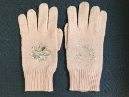 Victoria Couture Knitted Gloves pink-light grey alpaca wool