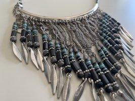 Ketting zilver-donkerblauw